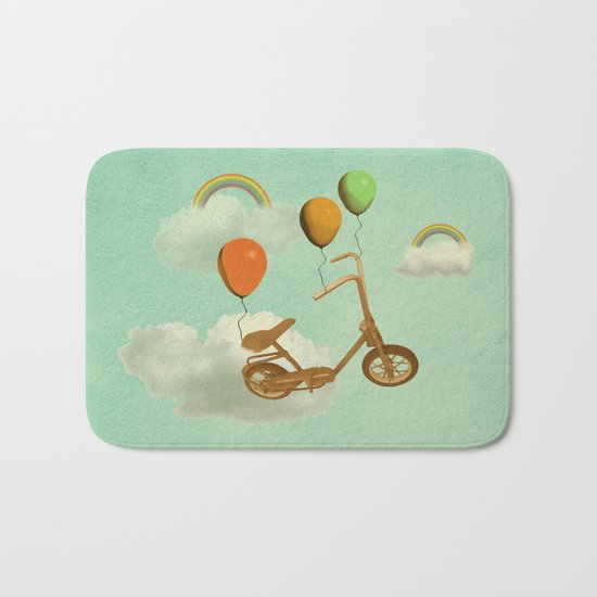 in my world, we bike from cloud to cloud ! Bath Mat