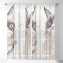Grumpy Watercolor Cats Sheer Curtain
