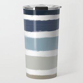Blue & Taupe Stripes Travel Mug