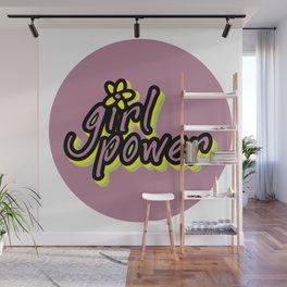 Girl Power, Flower, Girly sticker, Girly t shirt, Girly poster, purple version Wall Mural
