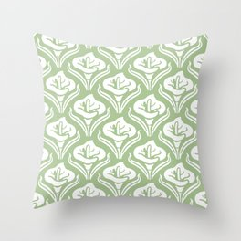 Calla Lily Pattern Sage Green Throw Pillow