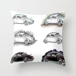 Classic mint green beetle automovil composition Throw Pillow