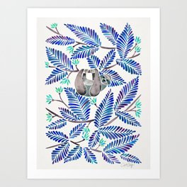 Happy Sloth – Tropical Blue Leaves Art Print