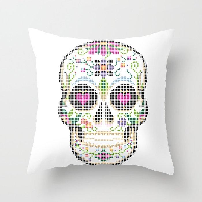 Day Of The Dead Cinco De Mayo Calavera Dia De Los Muertos Sugar Skull Candy Skull Make Up Fac Throw Pillow