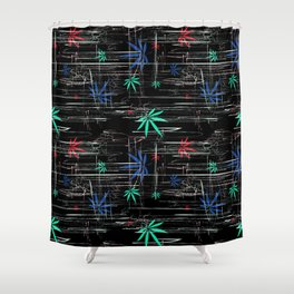 Colorful Marijuana Leaves and Scratches Shower Curtain