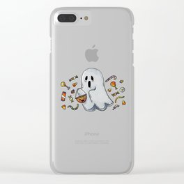 Trick or Treating Halloween Ghost Clear iPhone Case