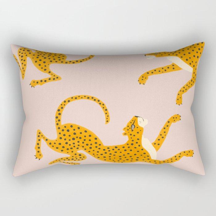 Leopard Race - pink Rectangular Pillow