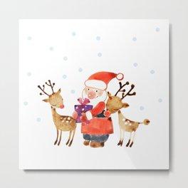 Santa & Rudolf Metal Print