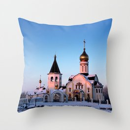 Russian Orthodox church in winter Throw Pillow