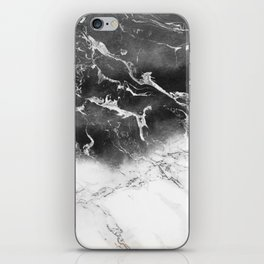 Modern black and white marble ombre watercolor color block iPhone Skin