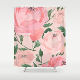 Watercolor Peonies with Blush Background Shower Curtain