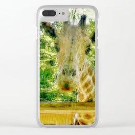 Giraffe Face Close Up Clear iPhone Case