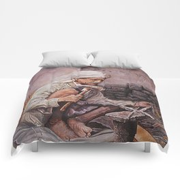 Blacksmith - oil painting old arabain worker man Comforters