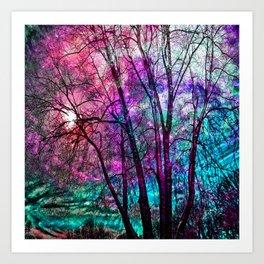 Purple teal forest Art Print