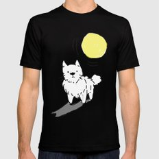 The Pup Waits MEDIUM Mens Fitted Tee Black