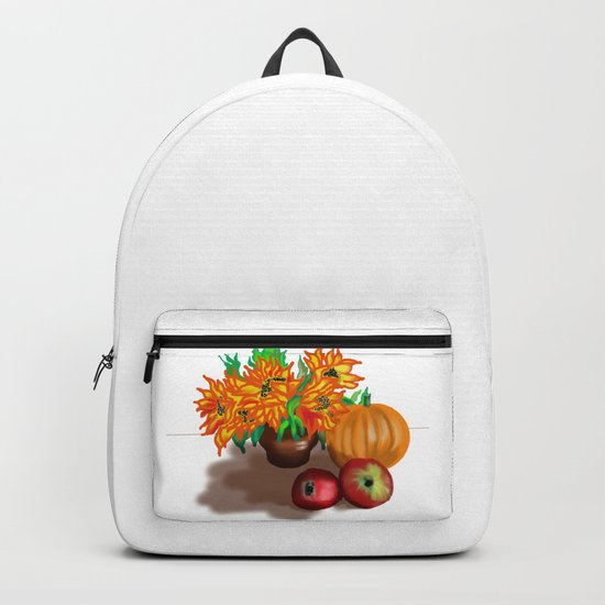 pumpkin sunflowers and apples Backpack