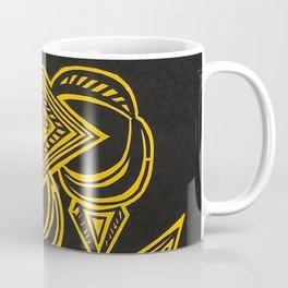 Geometric Woodcut - Yellow Coffee Mug