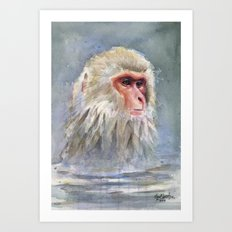 Snow Monkey Watercolor Animal Art Print