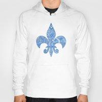 fleur de lis Hoodies featuring Blue Fleur de Lis by Riaora Creations
