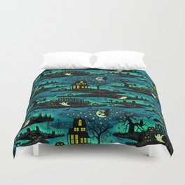Halloween Night - Fox Fire Green Duvet Cover