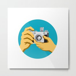 Retro 35mm Film Camera Clicking Metal Print