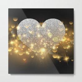 Valentine's Day, Glitter Heart, Gold Sparkle Metal Print