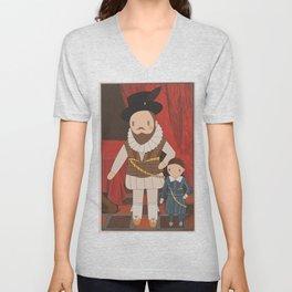 Sir Walter Raleigh Cute Portrait illustration Unisex V-Neck