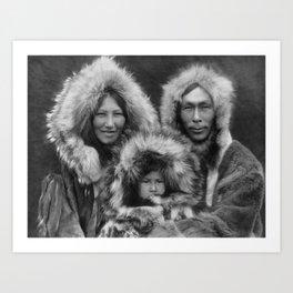 Inupiat Family from Noatak, Alaska, 1929, Edward S. Curtis Art Print