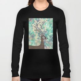 white tailed deer, white breasted nuthatches, & dogwood blossoms Long Sleeve T-shirt