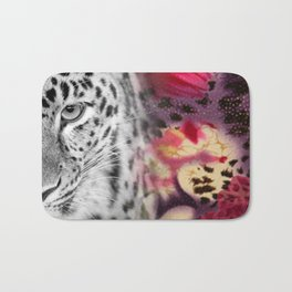 Black & White Leopard & Floral Collage Bath Mat