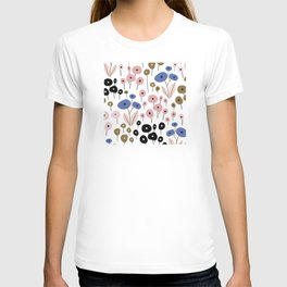 Mid-Century Modern Festive Flowers Print T-shirt