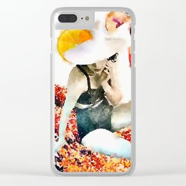 sun hat lady 1 Clear iPhone Case