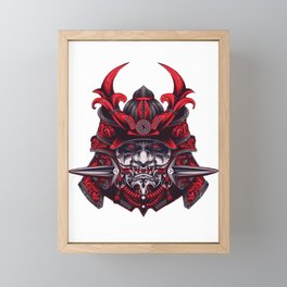 Blood Red Oni Samurai. Framed Mini Art Print