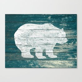 Rustic White Bear on Blue Wood Lodge Art A231b Canvas Print