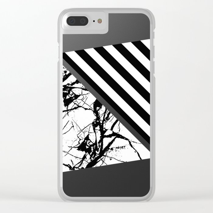 Stripes N Marble 3 - Abstract Black and white stripes and marble textured triangles on metallic Clear iPhone Case