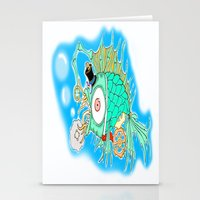 steam punk Stationery Cards featuring Whimsical Steam Punk Fish by J&C Creations