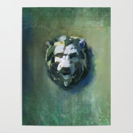 Lion Head Green Marble Poster