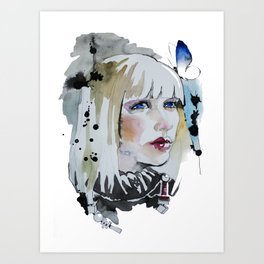 Girl with butterfly in her blond hair watercolor Art Print
