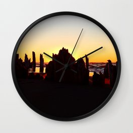 Seaside Sunset behind the wharf remains Wall Clock