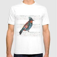 Birds and hats! White MEDIUM Mens Fitted Tee