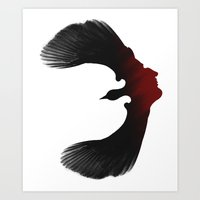 edgar allen poe Art Prints featuring Edgar Allen Poe and the Raven by The Herald Project