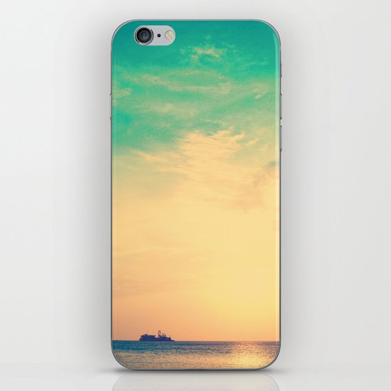 Ship in the beach on the sunset, and vintage turquoise sky iPhone & iPod Skin