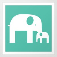 Blue Elephants Art Print