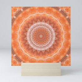 Mandala a touch of orange Mini Art Print