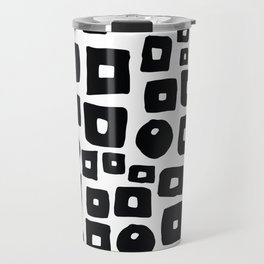 Geometrical hand painted black white squares circles Travel Mug