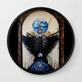 Between the Worlds // Visionary Art Woman Goddess Feminine Earth Moon Planets Stars Wall Clock