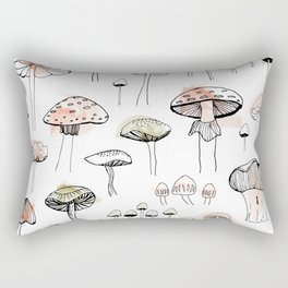 Mushroom harvest - pink and green Rectangular Pillow