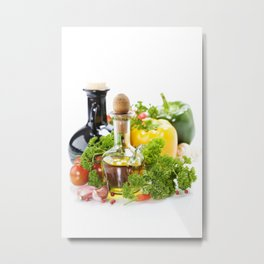 vegetables still life with olive oil and vinegar on white background Metal Print