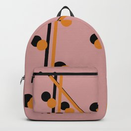 Mustard on Black Globular and line Backpack