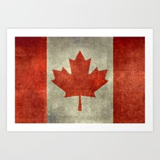 The National Flag of Canada, Vintage texture 3:5 scale version Art Print